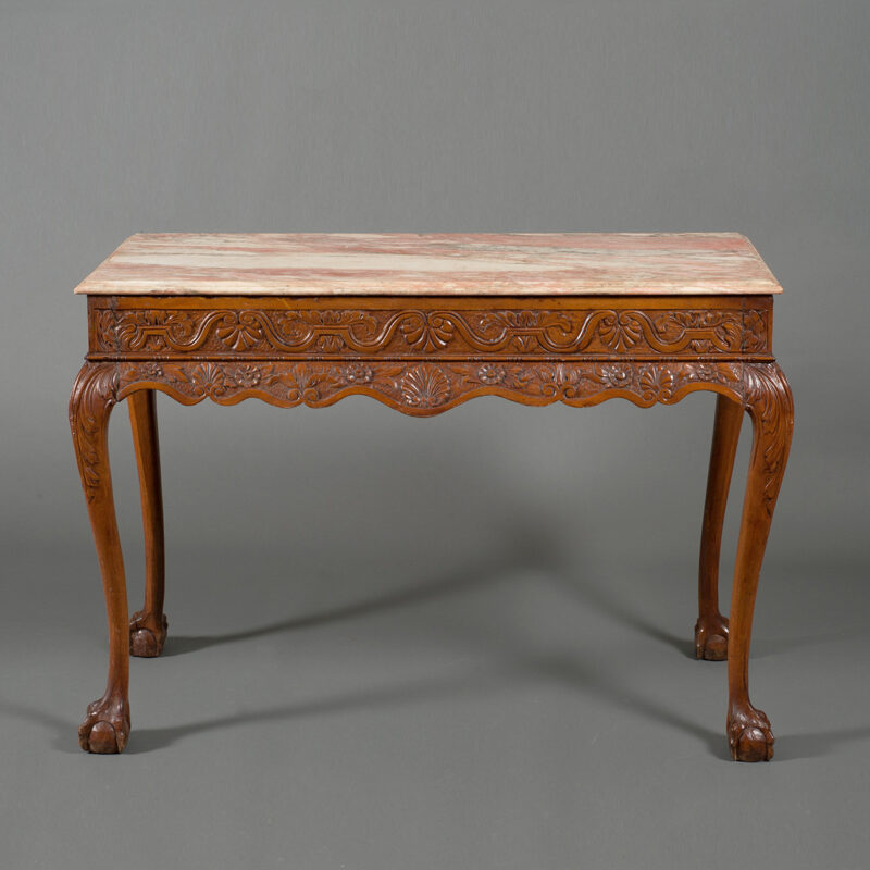 French Provincial Fruitwood And Pink Marble Top Console Table - POR