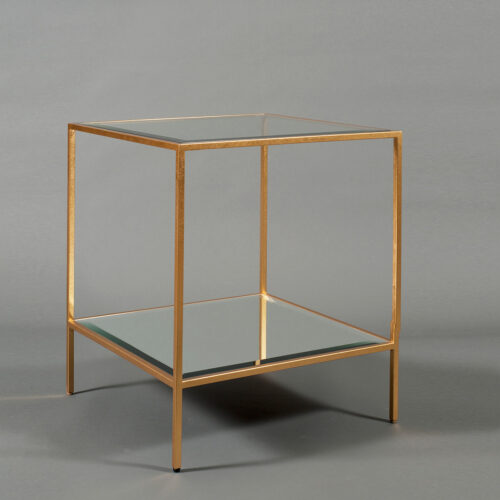 Glass Top Cubic End Table